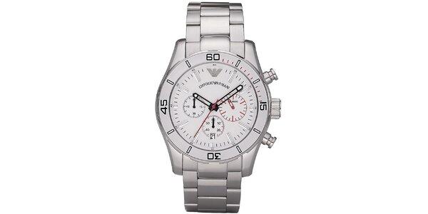 Pánské stříbrné ocelové hodinky s červenými detaily Emporio Armani