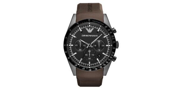 Pánské černé hodinky s hnědým řemínkem Emporio Armani