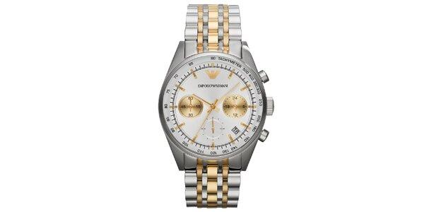 Pánské stříbrno-zlaté hodinky Emporio Armani