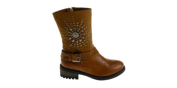 Dámské velbloudí boty Maria Barcelo s kovovými cvoky
