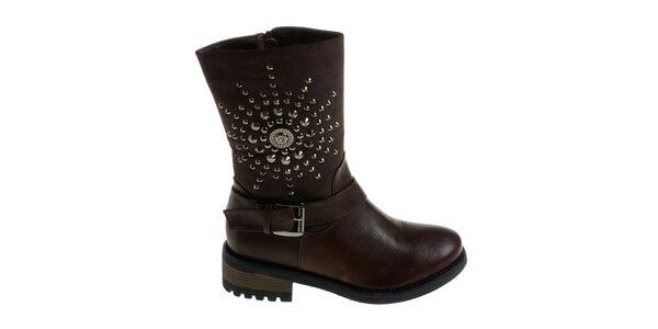 Dámské kávově hnědé boty Maria Barcelo s kovovými cvoky