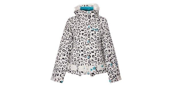 Dámská bílá snowboardová bunda Envy s leopardím vzorem
