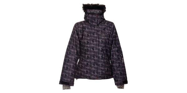 Dámská černá lyžařská bunda Envy s bílým potiskem a kožíškem