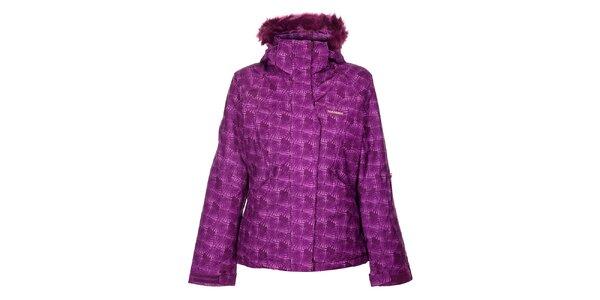 Dámská fialová lyžařská bunda Envy s potiskem a kožíškem