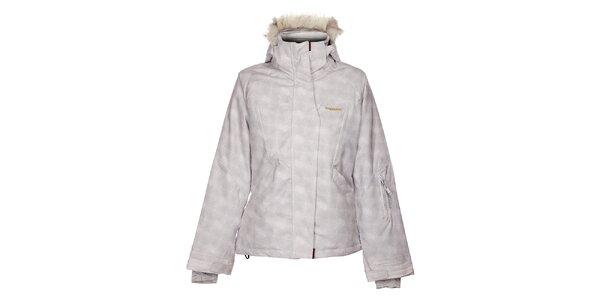 Dámská bílá lyžařská bunda Envy s šedivým potiskem a kožíškem