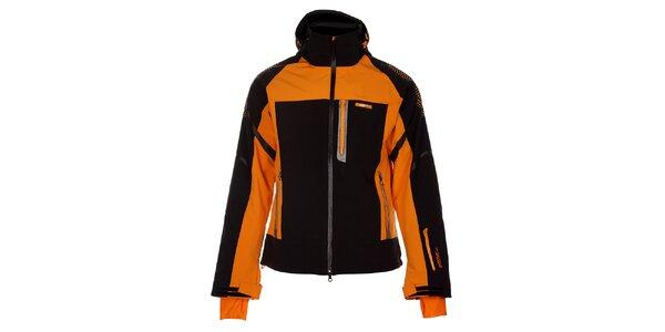 Pánská černá zimní softshellová bunda s oranžovými detaily
