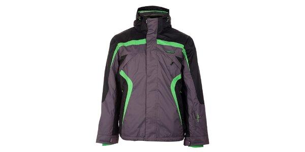 Pánská šedo-černá lyžařská bunda Envy se zelenými detaily