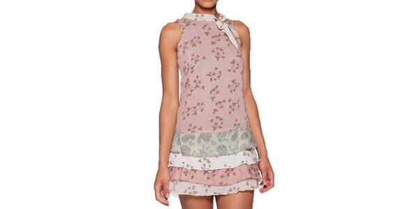 Dámské růžové minišaty s vrstvenou sukní Ian Mosh