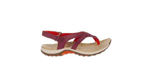 Dámské vínové sandály s červenými prvky Merrell