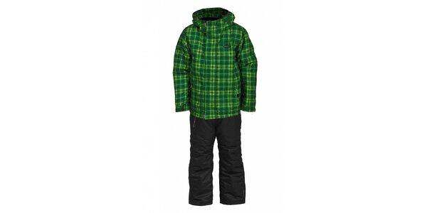 Dětská lyžařská souprava Envy - černé kalhoty a zelená bunda s potiskem