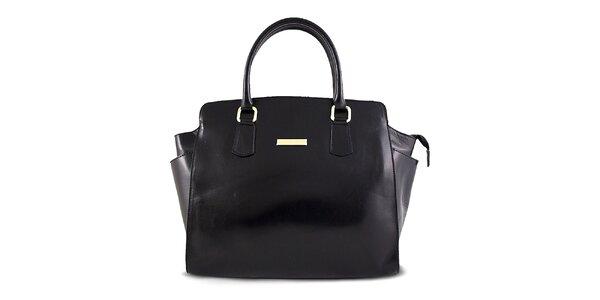 Dámská černá hladká kožená kabelka Roberto Buono