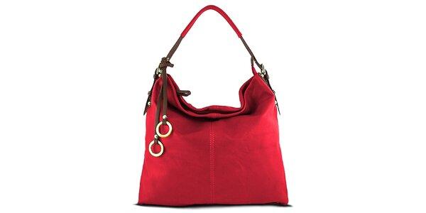 Dámská rudá kabelka s ozdobnými kroužky Roberto Buono