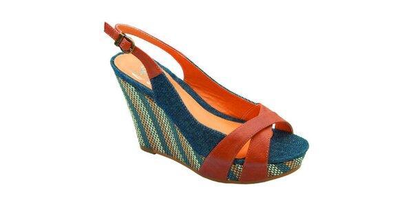Dámské modro-hnědé sandálky Elisabeth