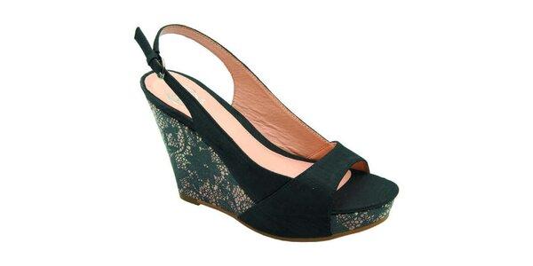 Dámské černé sandálky s krajkou Elisabeth