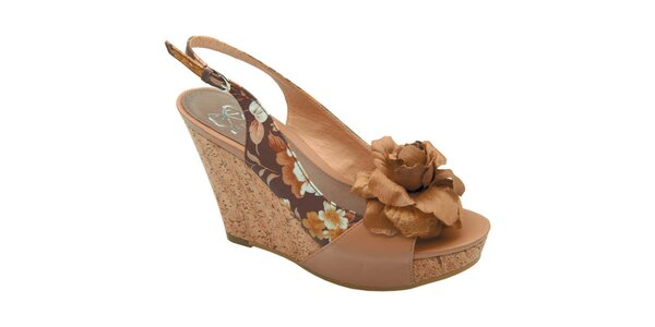 Dámské hnědé sandálky s květinou Elisabeth