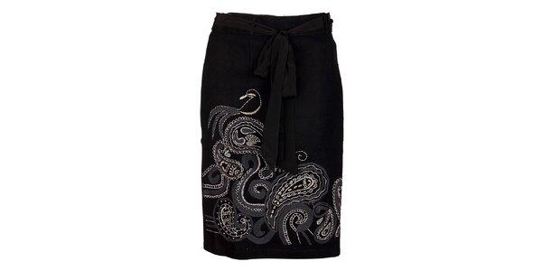 Dámská černá vlněná sukně Uttam Boutique s ornamentální výšivkou