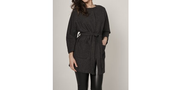 Dámský tmavě šedý kabát Mell
