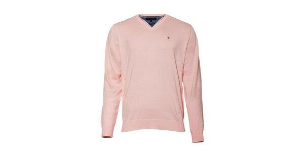 Světle růžový svetr Tommy Hilfiger sVvýstřihem