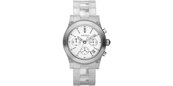 Dámské hodinky s transparentním řemínkem a chronografem DKNY