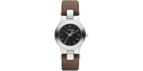 Dámské hodinky s hnědým páskem DKNY
