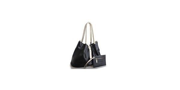 Dámská černá kožená kabelka Belle & Bloom s béžovými uchy