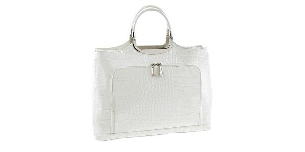 Dámská bílá kožená kabelka se vzorem Classe Regina