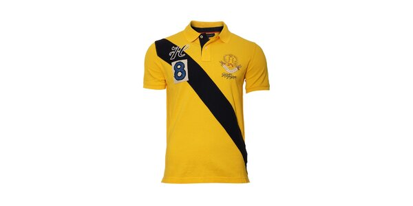 Žluté polo tričko Tommy Hilfiger Trevor s pruhem avýšivkou
