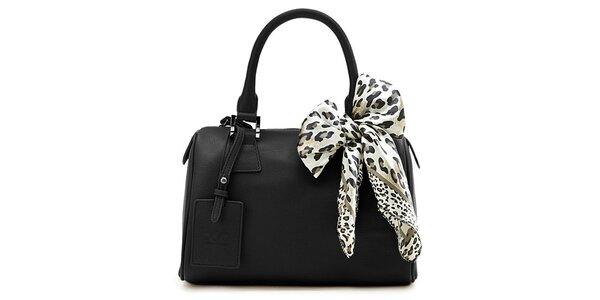 Černá kufříková kabelka Belle & Bloom s ozdobným šátkem