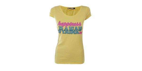 Dámské žluté tričko Gas s třpytivým nápisem