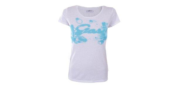 Dámské bílé tričko s modrým vzorem Gas