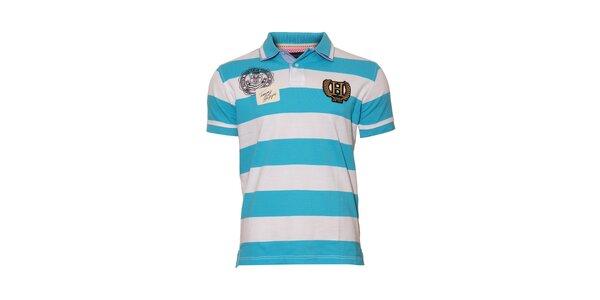 Modrobíle pruhované polo tričko Tommy Hilfiger Tony s výšivkou