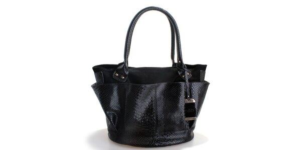 Dámská černá kabelka Belle & Bloom v efektu hadí kůže