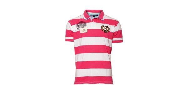 Růžovobíle pruhované polo tričko Tommy Hilfiger Tony svýšivkou