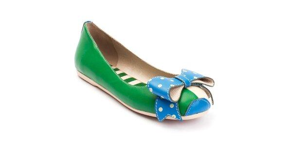 Dámské zeleno-modré balerínky s puntíkatou mašlí Lola Ramona