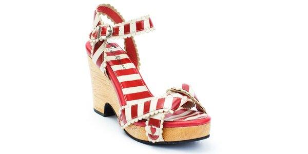 Dámské pruhované sandálky na podpatku se srdíčky Lola Ramona