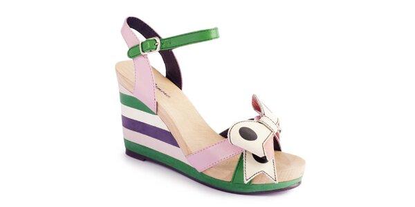 Dámské pastelové sandálky s pruhy a mašlí Lola Ramona