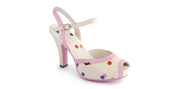 Dámské světlé sandály Lola Ramona s barevnými puntíky