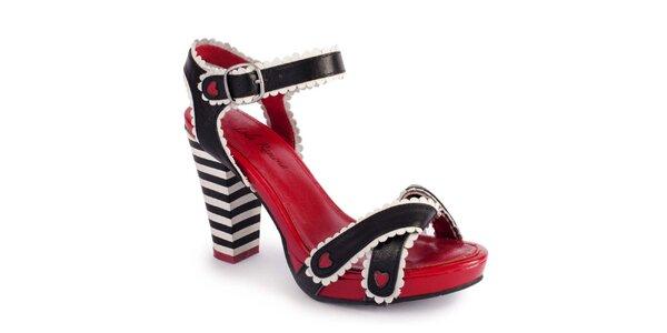 Dámské červené střevíčky s černými pásky Lola Ramona