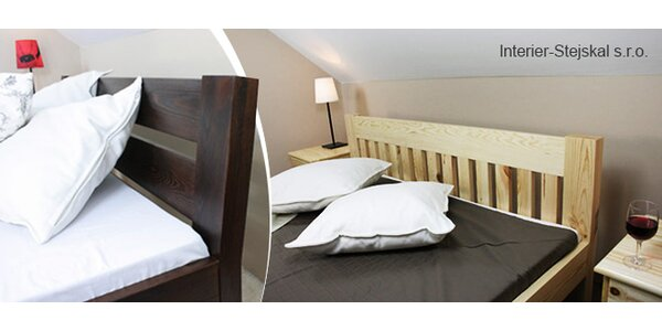 Moderní postele z masivu s roštem i matrací