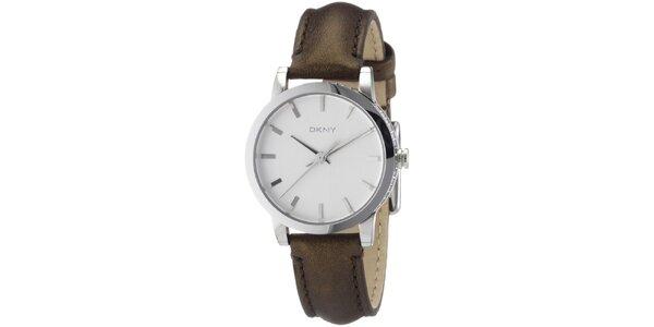 Dámské kruhové hodinky s hnědým páskem DKNY