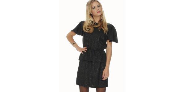 Dámské černé lesklé šaty s volnými zády Pepa Loves