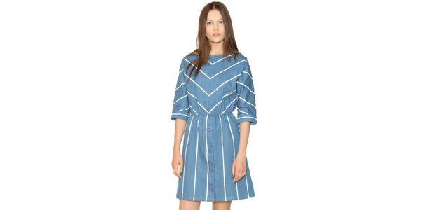 Dámské modré šaty s proužky Pepa Loves