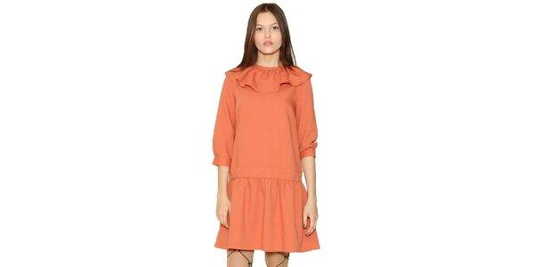 Dámské oranžové šaty s volánkem Pepa Loves