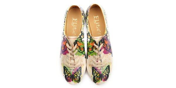Dámské oxfordky s barevnými motýlky Elite Goby