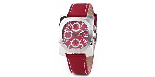 Ocelové hodinky Lancaster s červeným řemínkem