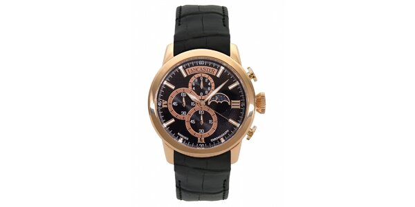 Pánské zlaté hodinky Lancaster s černým koženým řemínkem