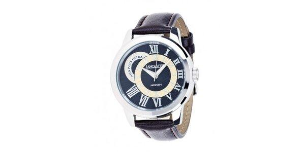 Pánské ocelové hodinky Lancaster s hnědým koženým řemínkem