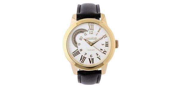 Dámské zlaté náramkové hodinky Lancaster s koženým řemínkem