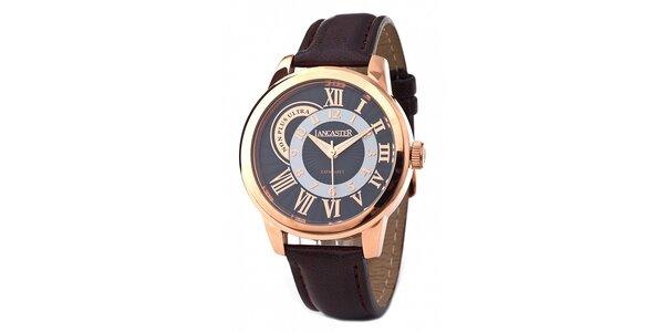 Pánské zlaté náramkové hodinky Lancaster s koženým řemínkem