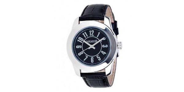 Dámské ocelové hodinky Lancaster s černým ciferníkem a černým koženým řemínkem
